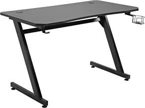 """HOMCOM 47.25"""" Gaming Desk Computer Table Metal Frame with Cup Holder, Headphone Hook, & Interior Cable Hole, Black"""