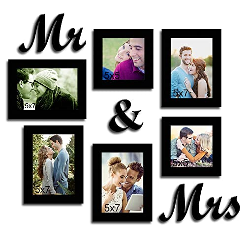 Art Street Together Forever Set of 6 Individual Wall Photo Frames with Mr & Mrs MDF Plaque - Black