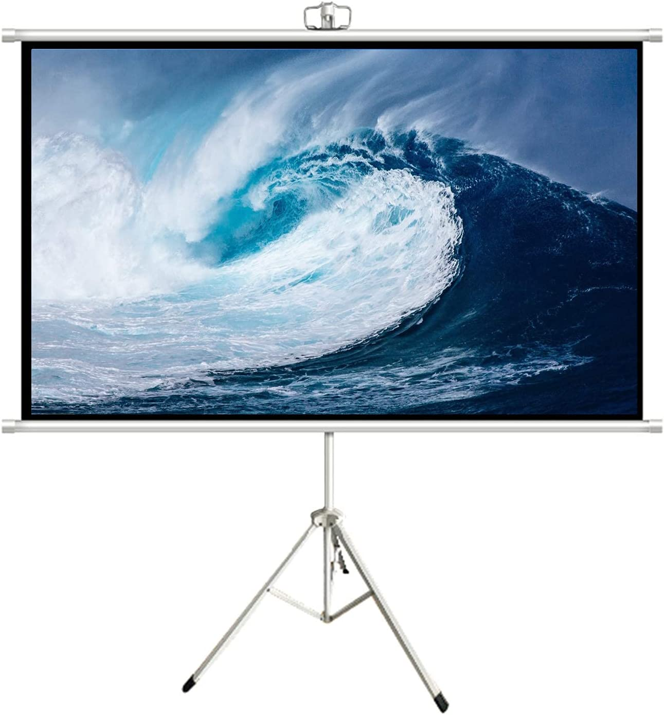 FMOGE Anti-Light Projector Screen 60 inch 4K HD 16:9 PVC Projection Screen Fast Assembly Design Movie Screens for Public Display Conference Presentation Party