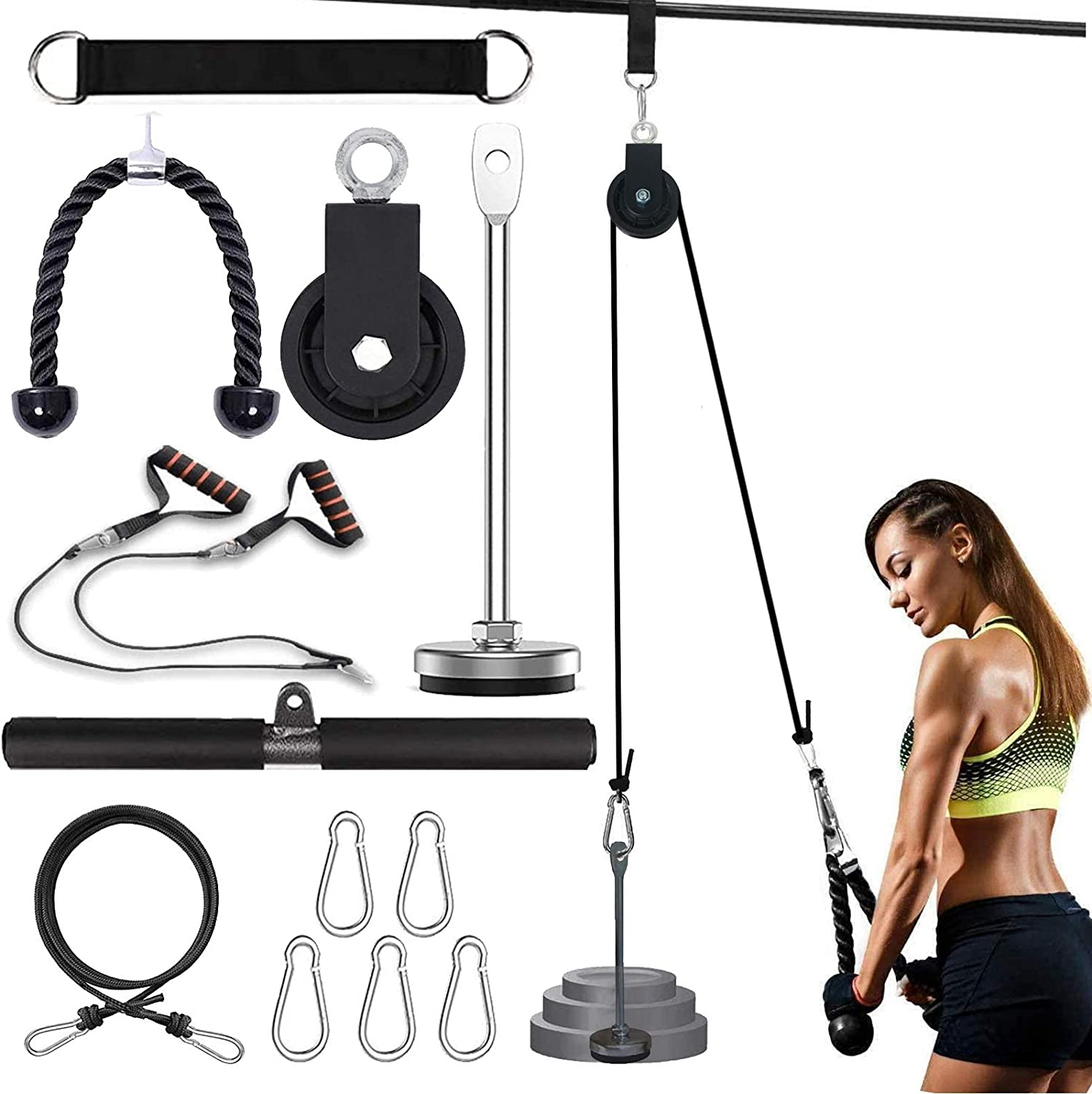 N V Pulley Cable Machine Large-scale sale with 3 Pul and Lift Handles Fitness Outlet ☆ Free Shipping LAT