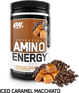 OPTIMUM NUTRITION ESSENTIAL AMINO ENERGY, Iced Caramel Macchiato, Keto Friendly BCAAs, Preworkout and Essential Amino Acids with Green Tea and Green Coffee Extract, 30 Servings