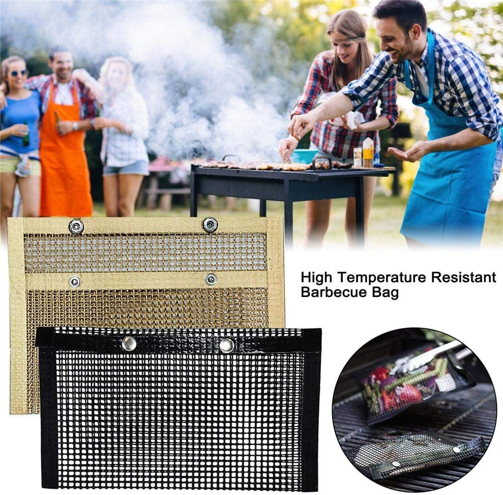 Wangyan 123 sacs en maille réutilisables anti-adhésifs résistants à la chaleur pour barbecue électrique au charbon de bois, noir/cuivre Noir