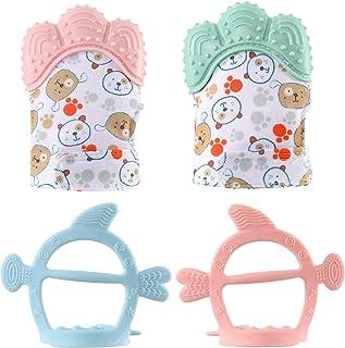 Baby Zahnen Handschuh 2 Paar Baby Bei/ßringe F/äustlinge Neugeborenen Silikon Schnuller 2 St/ück Handschuh Beissringe Spielzeug Baby zum Zahnen f/ür Alter 3-12 Monate Rosa+Orange