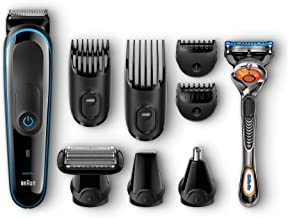Braun Hair Clippers for Men MGK3080, 9-in-1 Beard Trimmer, Nose Hair Trimmer, Cordless & Rechargeable with Gillette PorGli...