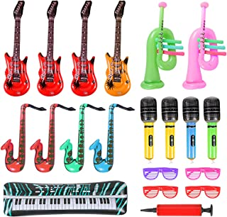 20 Pieces Inflatable Toy Set - Saxophone Microphone Inflatable Electric Guitar Pipa Toy for 80's 90's Themed Party - kids Birthday Decor - Coachella Valley Music Festival - Karaoke Party - Rock and Roll Party Favors