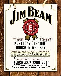 Jim Beam Bourbon Label- Wall Art Sign- 8 x 10