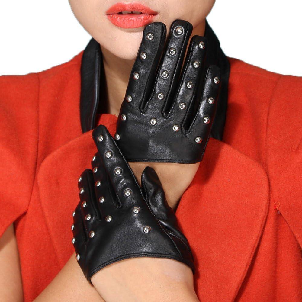 Mandy's Women's Fall Winter Genuine Nappa Leather Rivet Half Palm Gloves
