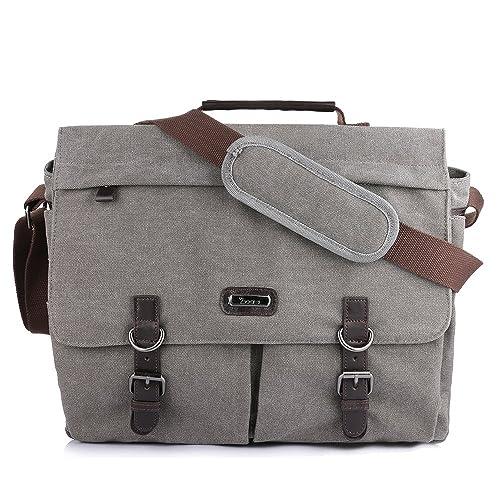 Men/'s Vintage Canvas Leather Military X-Large 15 Laptop Shoulder Messenger Bag