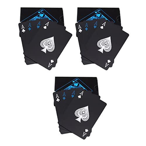 CARE CASE- Set of 3- Unique Black Good Quality Waterproof Colorful Playing Cards Plastic Deck Poker Playing Card