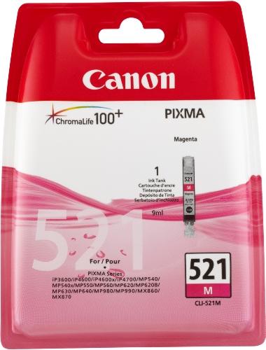 Canon CLI-521 M Cartucho de tinta original Magenta para Impresora de Inyeccion de tinta Pixma MX860-MX870-MP540-MP540x-MP550-MP560-MP620-MP620B-MP630-MP640-MP980-MP990-iP3600-iP4600-iP4600x-iP4700