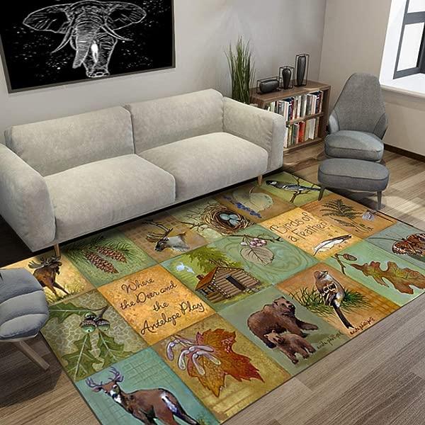 JIFAN Carpet Nordic Retro Art Carpet Interesting Baby Crawling Mat Classroom Child Game Pad Girl Room Classical Rug Soft Crystal Velvet Household Rug For Living Room Study Kindergarten Nursery