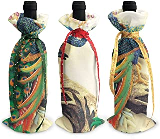 3 Pcs Christmas Wine Bottle Covers Wine Bags With Drawstrings Oriental Peacock On Flower Tree Printed Santa Claus Wine Bottle Cover For Xmas Gift And Party