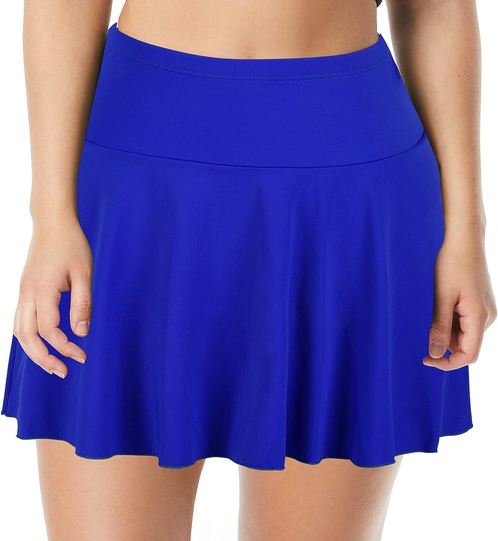 Septangle Women's Mid Waist Swim Skirt Tummy Control Swimwear Bi