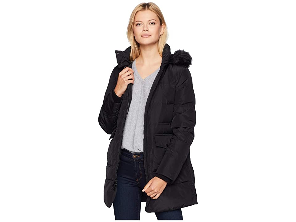 Marc New York by Andrew Marc Astoria Down Filled Anorak with Faux Fur Trim Hood Patch Pockets (Black) Women