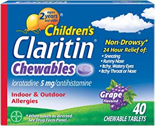 Claritin Children's 24-Hour Non-Drowsy Allergy Grape Chewable Tablet, Antihistamine, 40 Count
