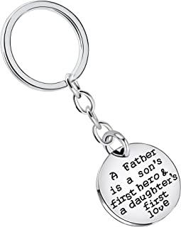 Father Day Men Gift - A Father is a son first hero a daughter first love - Silver Key Chain Ring for Papa