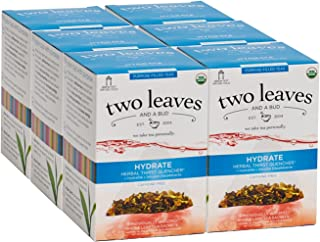 Two Leaves and a Bud Organic Hydrate Herbal Thirst Quencher Tea Bags, 15 Count (Pack of 6) Organic Whole Leaf Caffeine Free Herbal Tea in Sachet Bags, Delicious Hot or Iced with Sugar, Honey or Plain