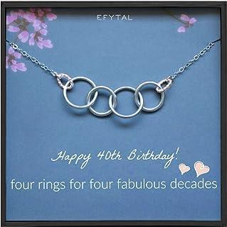 قلادة هدايا عيد الميلاد الأربعين للنساء من الفضة الاسترلينية 4 حلقات وقلادات أربعة عقود أفكار للهدايا