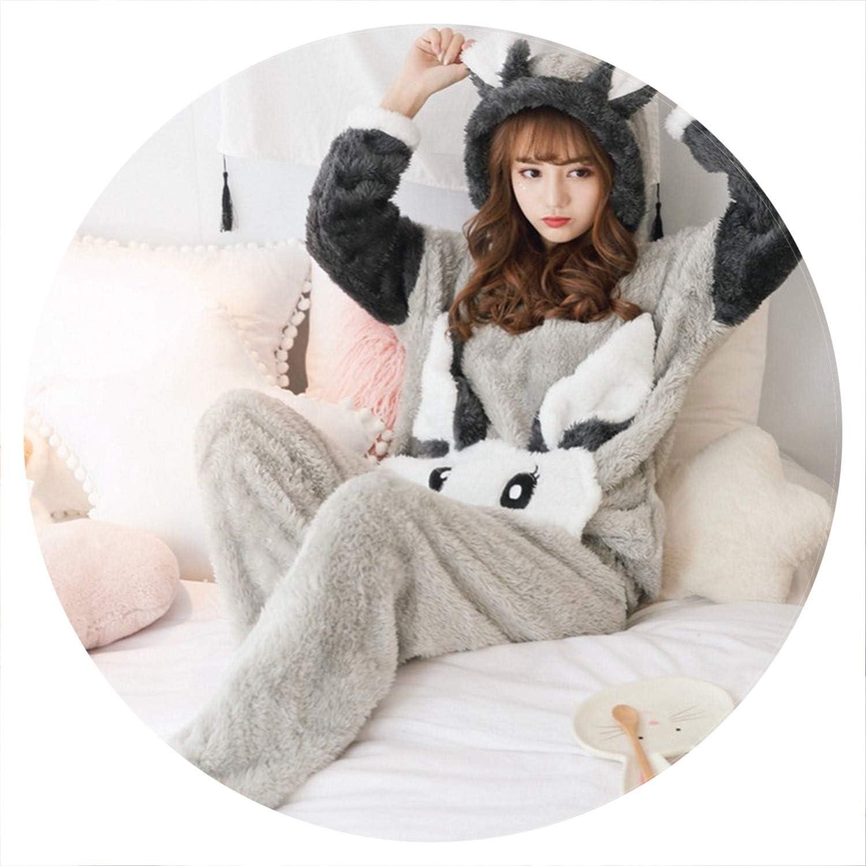 100Expectations Flannel Pajamas Set Bear Hooded Pajamas Sleepwear Coral Fleece Thickened Warm Pyjamas