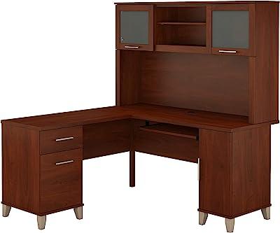Bush Furniture Somerset L Shaped Desk with Hutch, 60W, Hansen Cherry