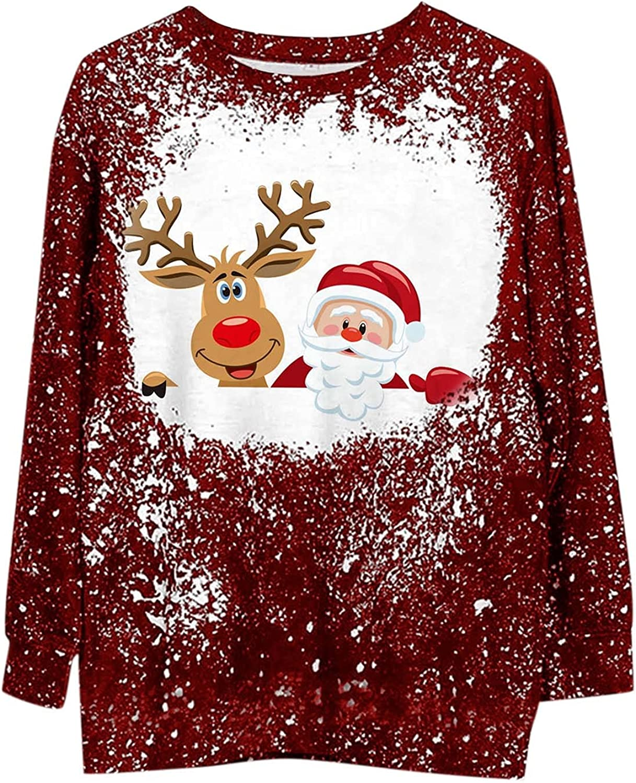 Christmas Long Sleeve Shirts for Women Cute Santa Elks Print Sweatshirts Crewneck Oversized Pullover Graphic Tops