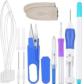 SelfTek Kit de pluma de bordado Herramienta de perforación de costura de bordado con caja de almacenamiento
