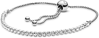 Jewelry - Adjustable Sparkling Slider Tennis Bracelet for Women in Sterling Silver with Clear Cubic Zirconia, 9.8 in / 25 cm