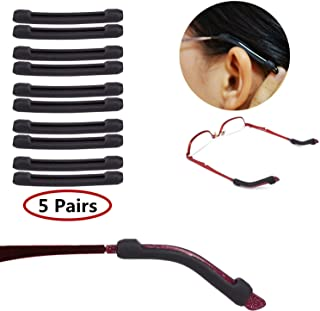 YR Soft Silicone Eyeglasses Temple Tips Sleeve Retainer,Anti-Slip Elastic Comfort Glasses Retainers For Spectacle Sunglasses Reading Glasses Eyewear,5 pairs -Black