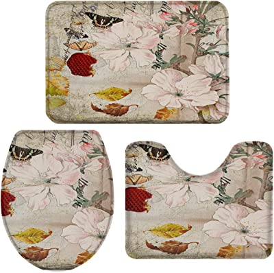 Heart Pain Bathroom Rug Set 3 Piece Cherry Blossom Flower Non-Slip Backing Bathroom Mat Retro Brown Anti-Skid U-Shape Contoured Toilet Mat Absorbent Toilet Seat Cover - Small Size