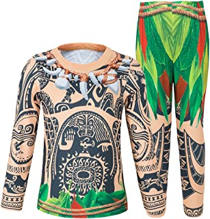 AmzBarley Moana Maui Costume for Little Boys Pajamas Toddler Kids Short Sets Cosplay Outfit