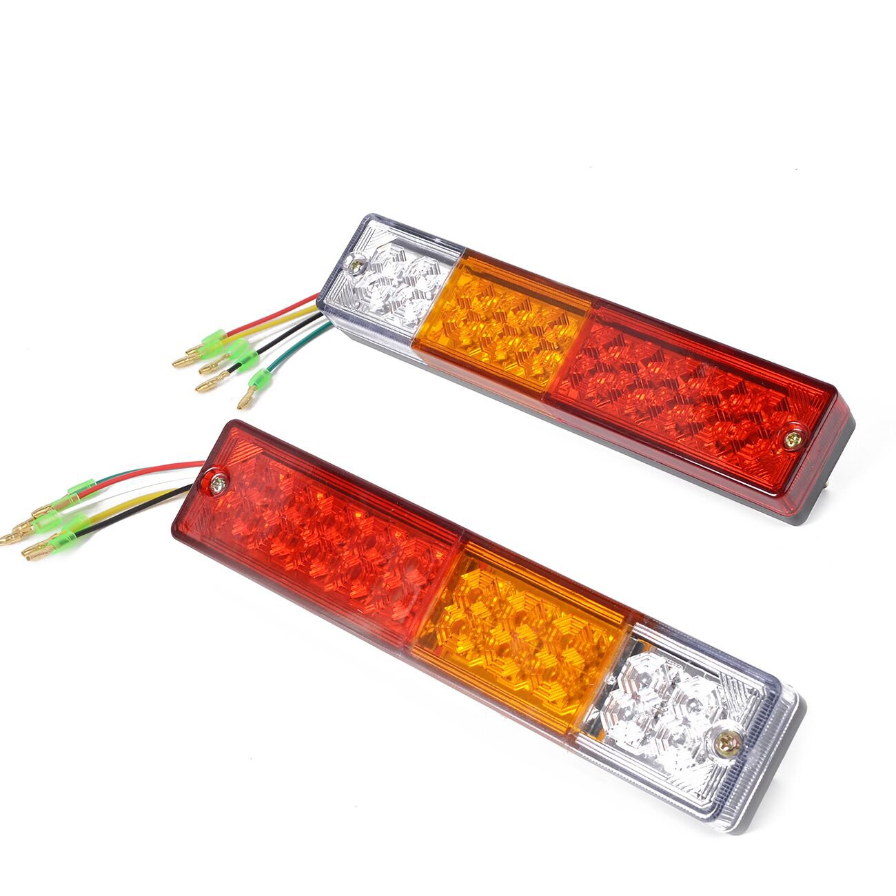 Turn Signals,25-Foot Harness HQAP 2019 Latest 12V Submersible LED Trailer Light kit: New Two Combination Parking Lights License Plate Bracket and mounting Hardware Package taillights