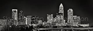 Charlotte Skyline PHOTO PRINT UNFRAMED NIGHT Black & White BW 11.75 inches x 36 inches Queen City Downtown Photographic Panorama Poster Picture Standard Size