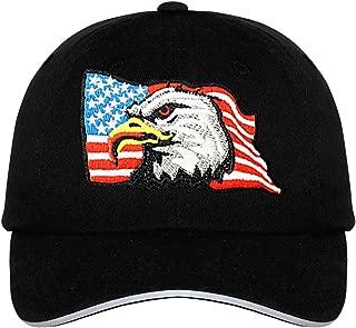 Eagle Flag Hat - Adjustable Black Baseball Cap