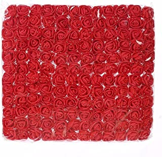 Artificial Flowers Mini Foam red Roses Head DIY Festival Decor Handmade Scrapbooking Fake Flower Wedding Home Party Wreath Gift Box Decoration 144pcs (red)