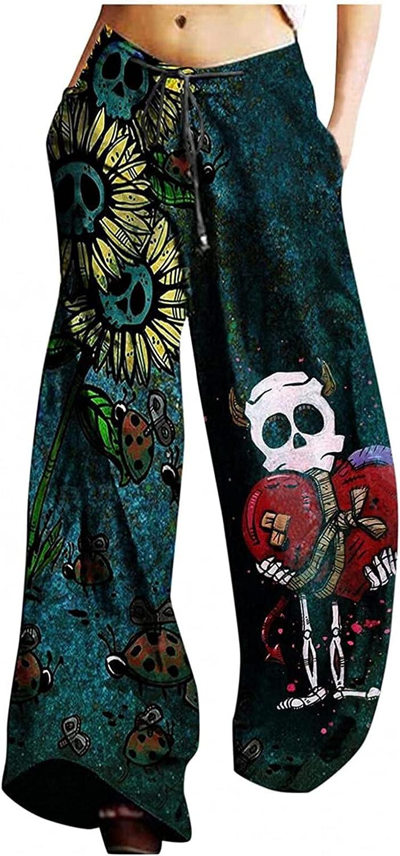 MIVAMIYA Womens Comfy Pajama Pants Halloween Funny Skeleton Lounge Palazzo Bottoms Drawstring High Wide Leg Yoga Pants