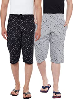 VIMAL JONNEY Printed Black and Silver Men's Three Fourths(Pack of 2)