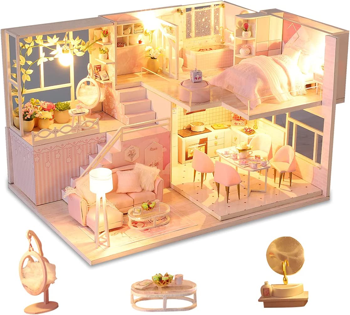 All items in the store GuDoQi DIY Miniature Dollhouse Kit Tiny an with overseas House Music kit
