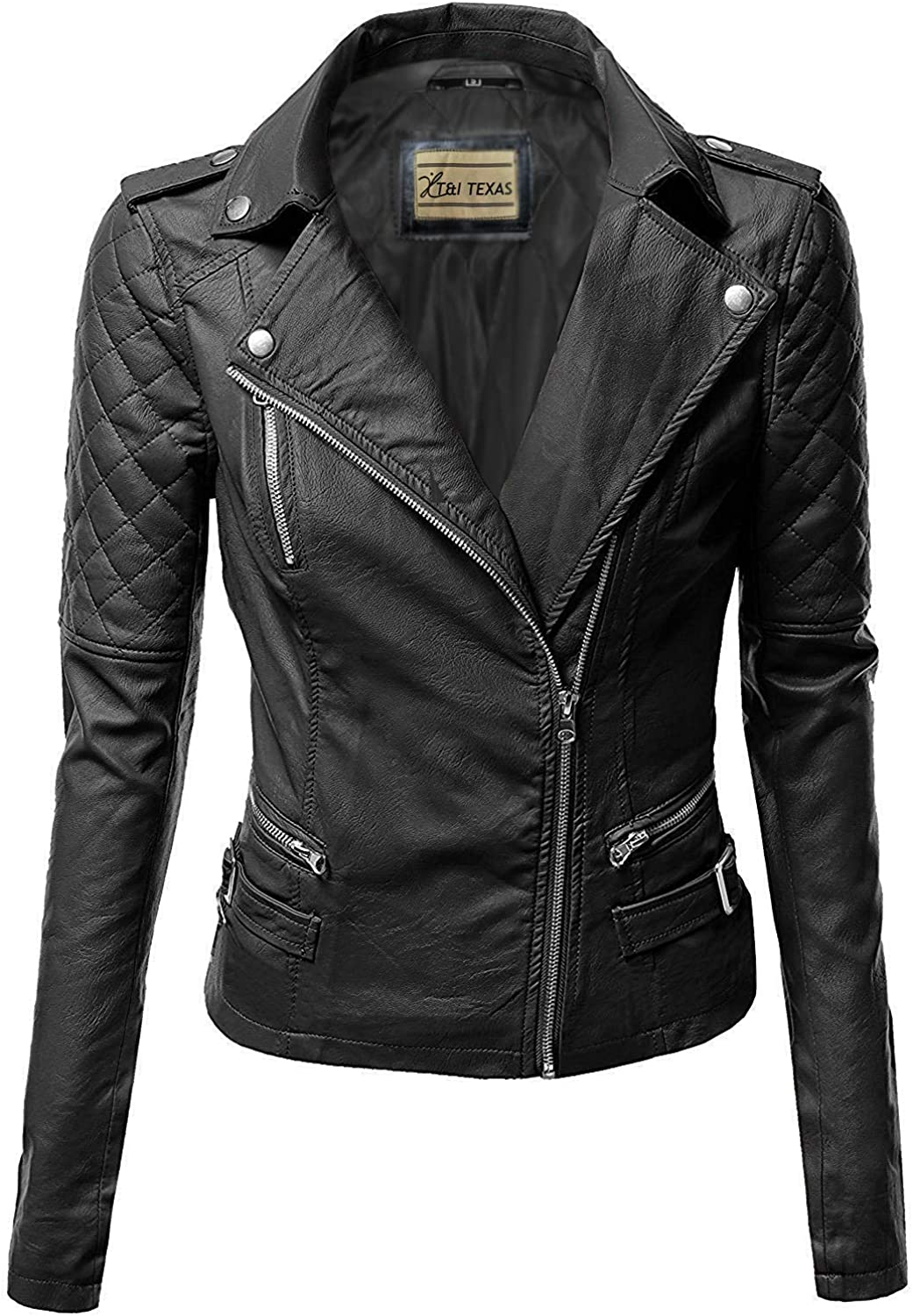 T&I Texas Notch Collar Quilted Biker Leather Jacket for Women