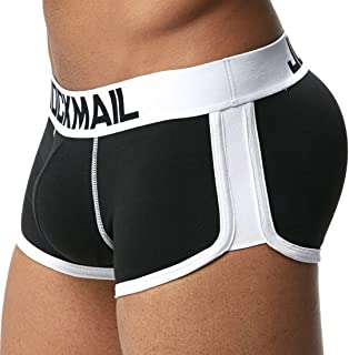 Jiyaru Men's Padded Boxer Brief Soft Cotton Hip-up Underwear Trunk