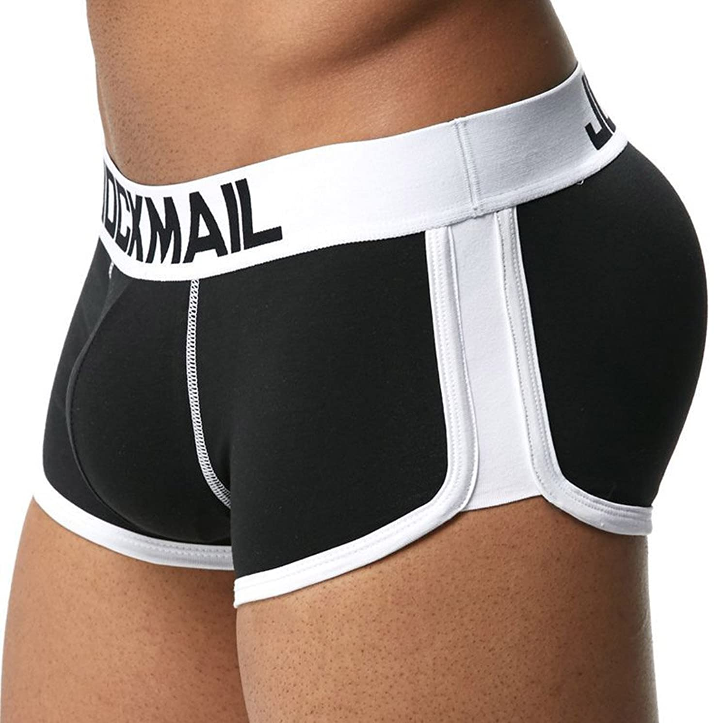 Jiyaru Men's Padded Boxer Brief Soft Cotton Hip-up Underwear Trunk