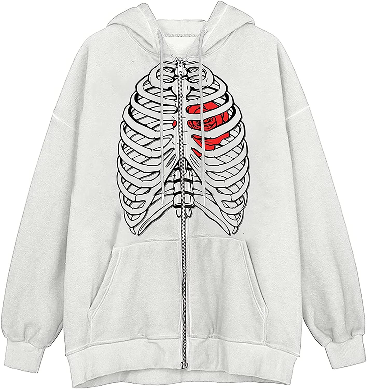 BOXIACEY Women's Halloween Sweatshirt Coats Skeleton Print Y2K Hoodies Long Sleeve Zip Hooded Jacket with Pocket