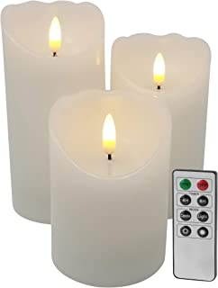 EGI - Set of 3 Flickering Real Wick Flameless Candles with Remote Control and Timer - Realistic Led Candles - Made with Real Wax