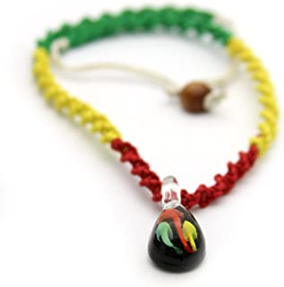 Jewelry Volt Twisted Rasta Color Hemp Necklace with Mushrooms in Tear-Drop Glass Pendant Black, Yellow, Green,Red