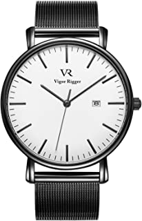 Vigor Rigger Men's Fashion Slim Quartz Date Wrist Watch with Mesh Band