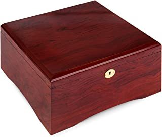 Brybelly Premium Wooden Mahogany Poker Chip Case - Glossy, Casino-Grade Chest with Felt-Lined Interior – Holds 750 Chips