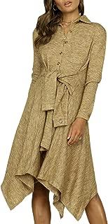 Zandiceno Women's A-line Asymmertrical Midi Knit Dress Causal Warm Belted Autumn Dresses