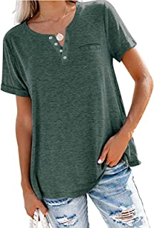 Women's Solid Color Summer Tunic Loose Fit Tops Shirt Loose Short Sleeve Blouses V Neck Casual