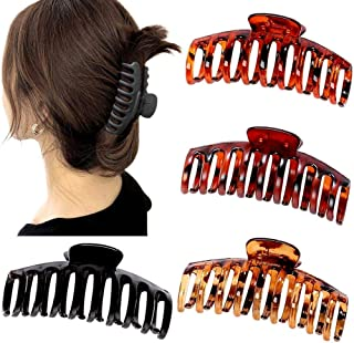 Questa life 4pcs Big Hair Claw Clips Matte Jaw Clips Large Grip Hair Clips Anti Slip Barrette Clamps Ponytail Holder for W...
