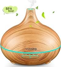 VicTsing Humidificador Ultrasónico Aromaterapia,300 ML Difusor de Aceites Esenciales de Vapor Frío, 7-Color LED, Hogar, Oficina,Bebé,Dormitorio,Etc, Amarillo