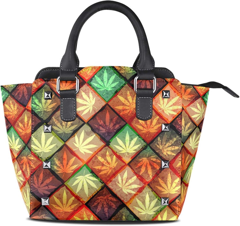 My Little Nest Women's Top Handle Satchel Handbag Watercolor Autumn Maple Leaf Ladies PU Leather Shoulder Bag Crossbody Bag
